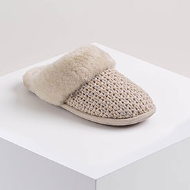Ladies Addington Knit Sheepskin Slippers