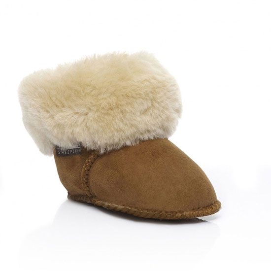 Babies Albery Sheepskin Booties Chestnut