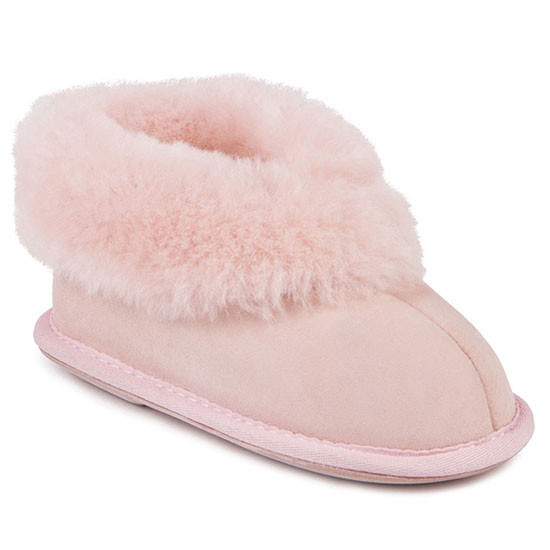 Childrens Classic Sheepskin Slippers Baby Pink