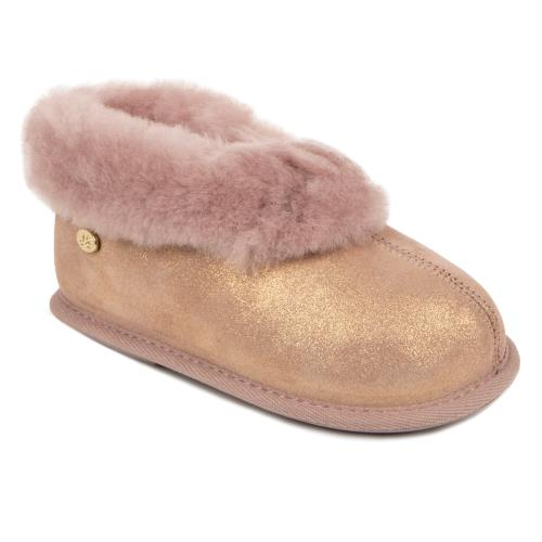 Childrens Classic Sheepskin Slippers Blush Sparkle
