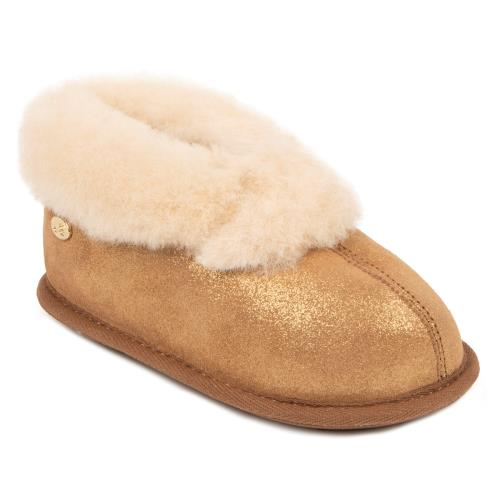 Childrens Classic Sheepskin Slippers Chestnut Sparkle