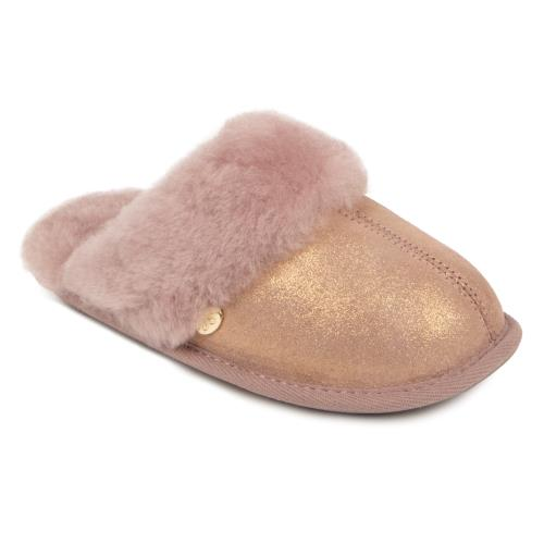 Girls Mini Duchess Sheepskin Slippers  Blush Sparkle