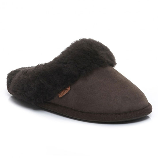 Ladies Duchess Sheepskin Slippers  Chocolate
