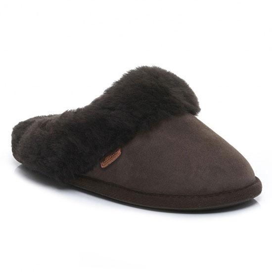 Ladies Duchess Sheepskin Slippers  Chocolate UK Size 78
