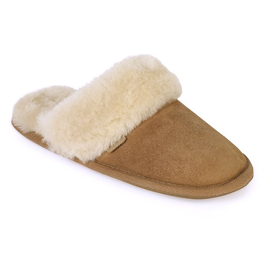 Ladies Duchess Sheepskin Slippers  Chestnut