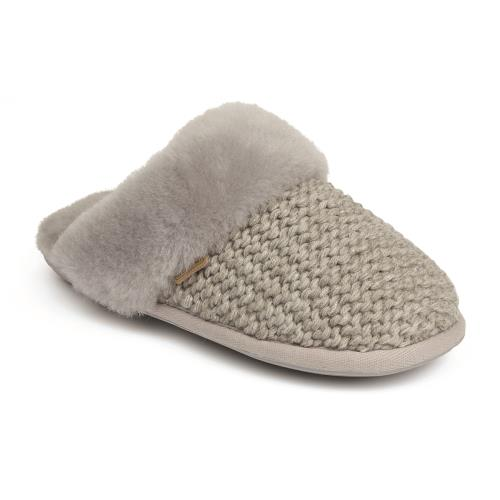 Ladies Addington Knit Sheepskin Slippers Grey