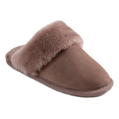 Ladies Duchess Sheepskin Slippers  Café Au Lait