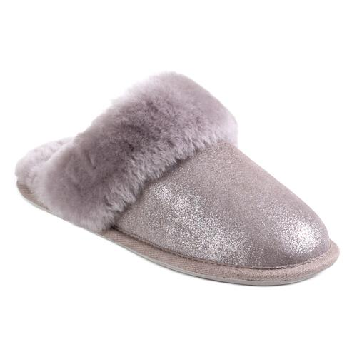 Ladies Duchess Sheepskin Slippers Dove Sparkle