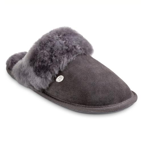 Ladies Duchess Sheepskin Slippers  Granite