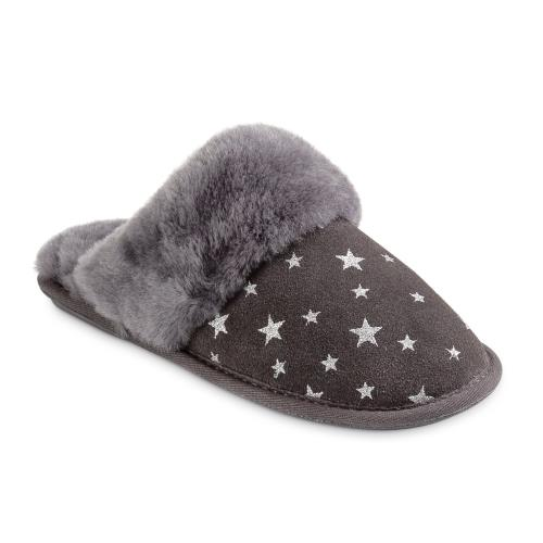 Ladies Duchess Sheepskin Slippers  Grey Star