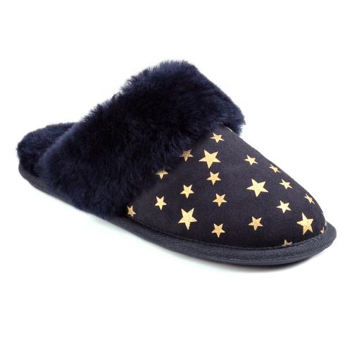 Ladies Duchess Sheepskin Slippers  Navy Star