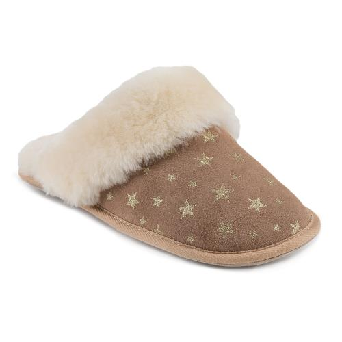 Ladies Duchess Sheepskin Slippers  Star