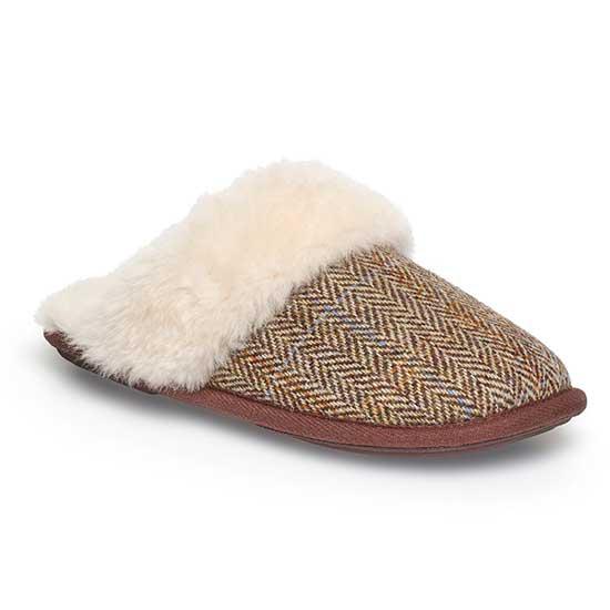 Ladies Duchess Sheepskin Slippers  Tweed UK Size 78