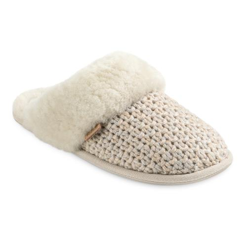 Ladies Addington Knit Sheepskin Slippers Natural