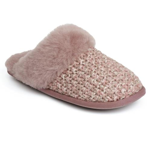 Ladies Addington Knit Sheepskin Slippers Pink