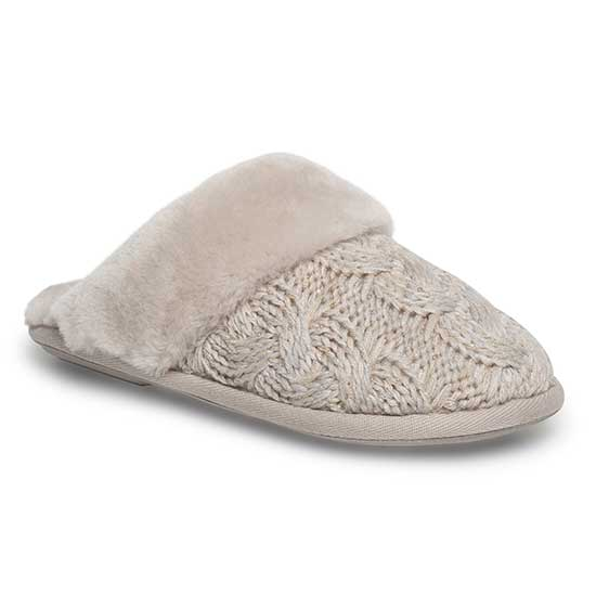 Ladies Bloomsbury Knit Sheepskin Slippers Stone