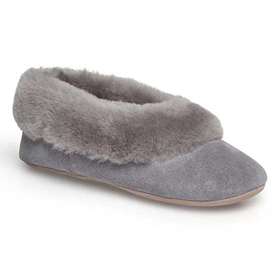 Ladies Queen Sheepskin Slippers Light Grey