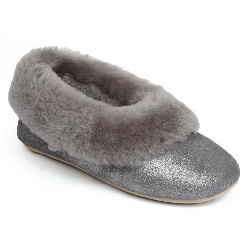 Ladies Queen Sheepskin Slippers Granite Sparkle