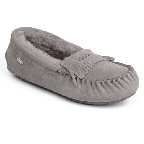 Ladies Hampstead Sheepskin Slippers Light Grey