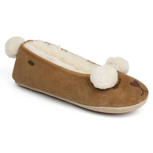 Ladies Tedworth Sheepskin Slippers Chestnut