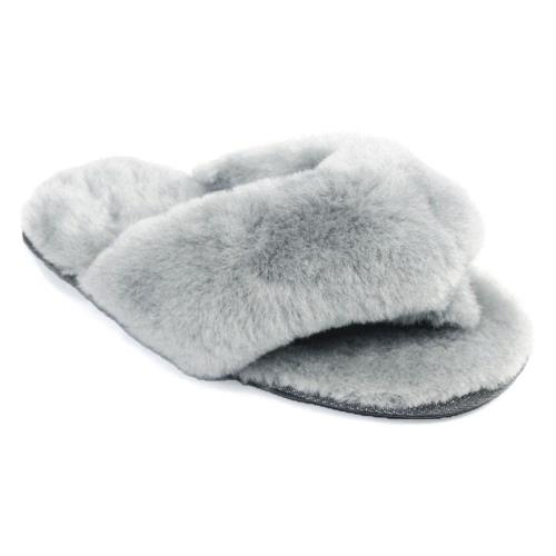 Ladies Rose Sheepskin Sliders Light Grey