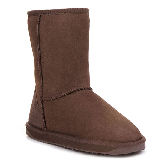 Ladies Short Classic Sheepskin Boots  Chocolate