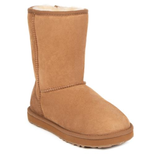 Ladies Short Classic Sheepskin Boots  Chestnut