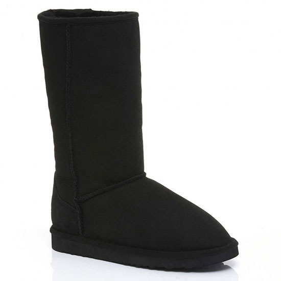 Ladies Tall Classic Sheepskin Boots Black