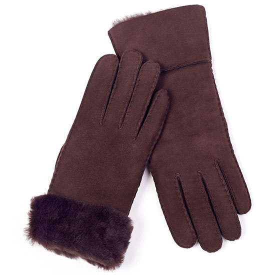 Ladies Charlotte Sheepskin Gloves Chocolate