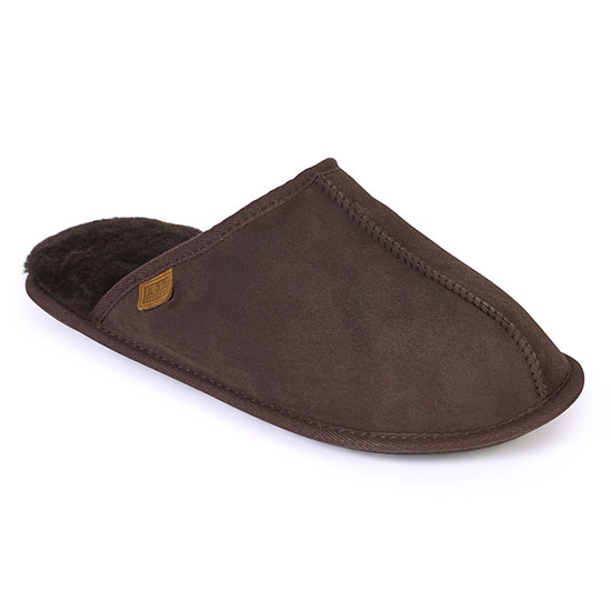 Mens Donmar Sheepskin Slippers Chocolate