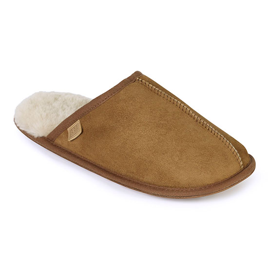 Mens Donmar Sheepskin Slippers Chestnut