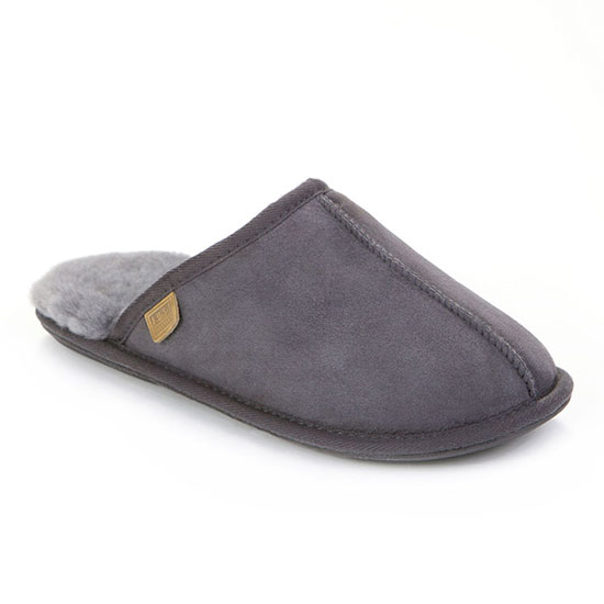 Mens Donmar Sheepskin Slippers Granite