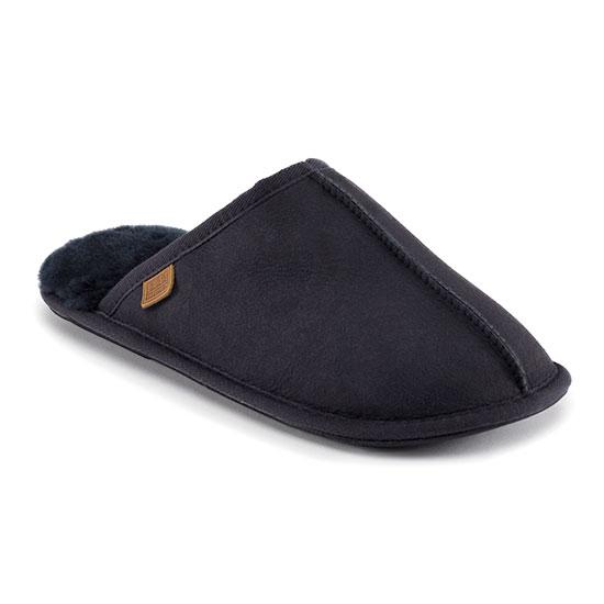 Mens Donmar Sheepskin Slippers Midnight