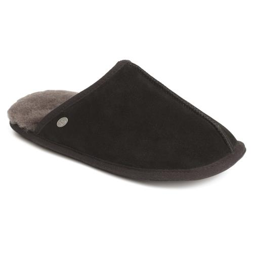 Mens Donmar Sheepskin Slippers Black (Grey Binding)