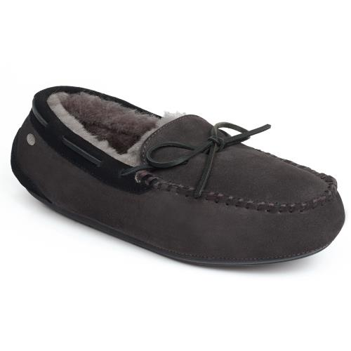 Mens Torrington Sheepskin Slippers Grey (Black Binding)