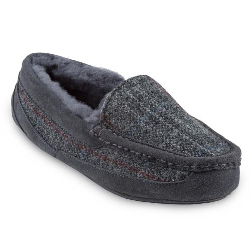 Mens Eaton Tweed Sheepskin Slippers Charcoal Tweed