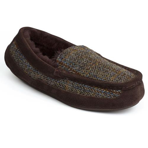 Mens Eaton Tweed Sheepskin Slippers Tweed