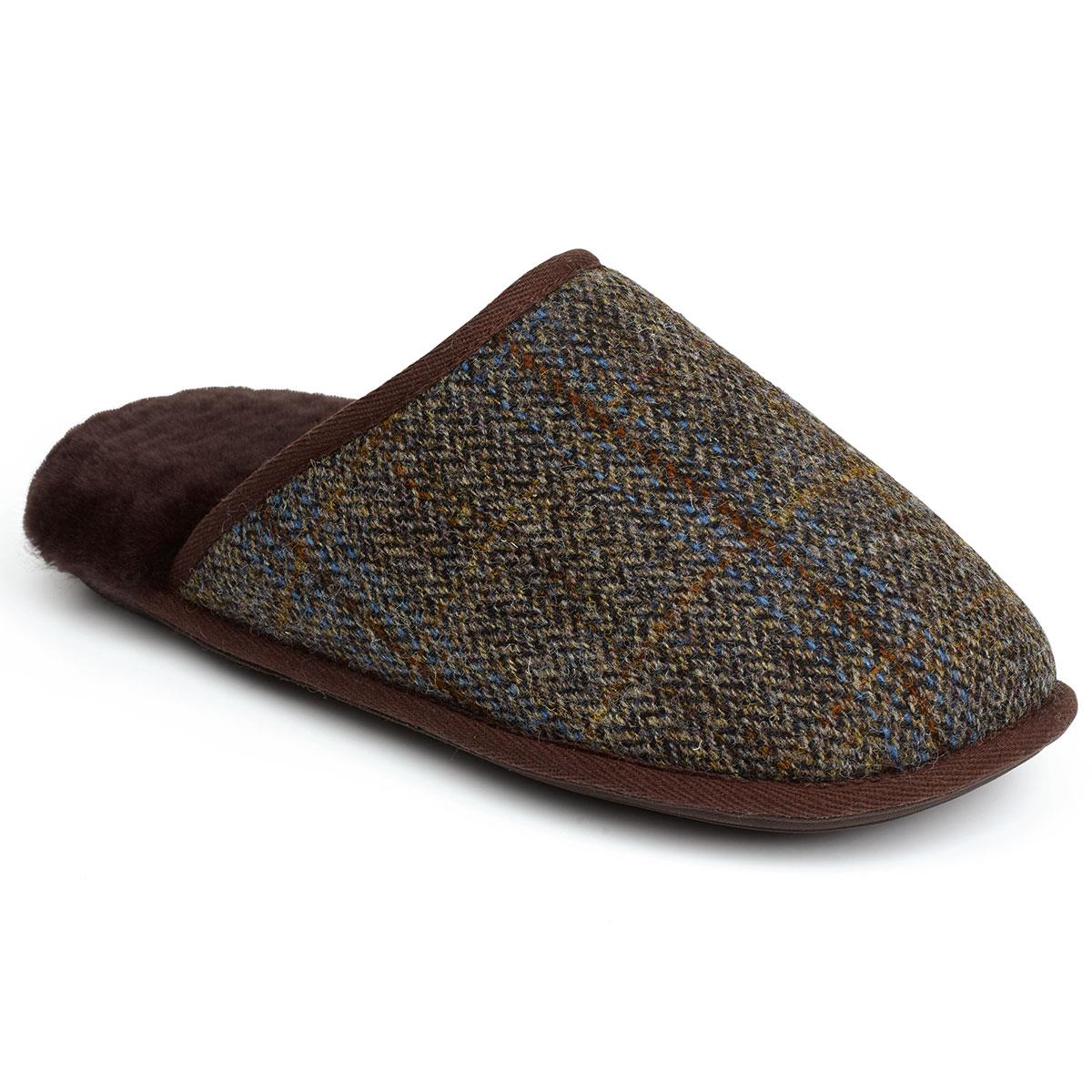 4f146c2ccde5 Mens Russell Tweed Sheepskin Slippers